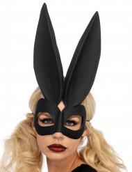 Masque lapin aux grandes oreilles noir femme