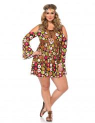 Déguisement hippie fleurie marron femme