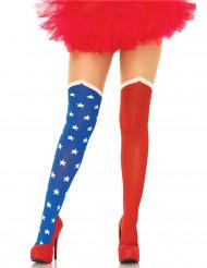 Collants opaques drapeau USA femme