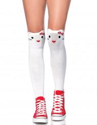 Chaussettes hautes petit chat femme