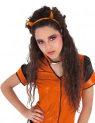 Serre-tête cornes pailletées orange diablesse fille