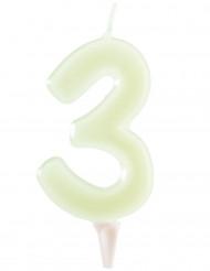 Bougie fluorescente chiffre 3