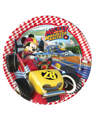 8 Assiettes en carton Mickey Racing™ 23 cm