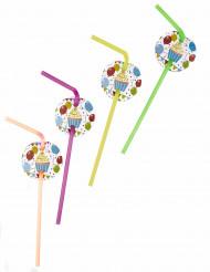 6 Pailles médaillon ballons d