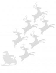6 Rennes en feutrine blanche 16 cm Noël