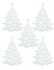 5 Sapins décorés blancs Noël