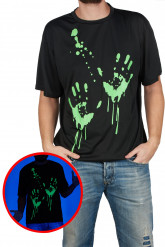 T-shirt empreintes de mains phosphorescent adulte Halloween