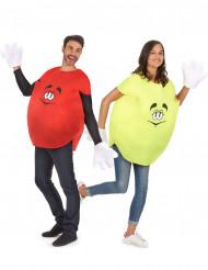 Déguisement de couple bonbon jaune et rouge adulte
