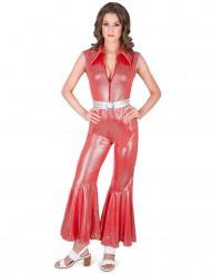 Déguisement combinaison disco rouge femme