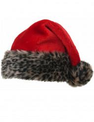 Bonnet rouge avec peluche tigrée 40 cm adulte Noël