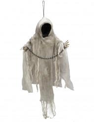 Décoration à suspendre squelette enchaîné lumineux Halloween 100 cm
