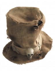 Chapeau haut de forme toile de jute squelette adulte Halloween