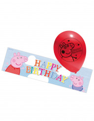 5 Ballons latex Peppa Pig & bannière aluminium