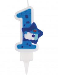 Bougie bleu chiffre 1