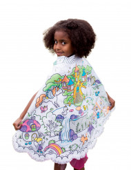 Cape lavable réversible bleue à colorier princesse fille