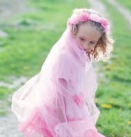 Couronne fleurs roses avec voile fille