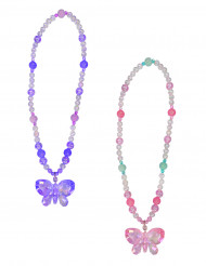 Collier papillon rose fille