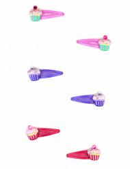 2 Barrettes violettes cupcake fille