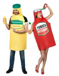 Déguisement de couple mayonnaise et ketchup adulte