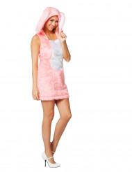 Déguisement robe lapin rose en peluche femme