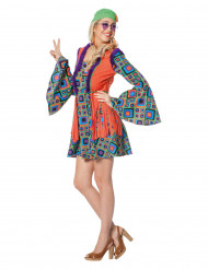 Déguisement hippie à losanges avec franges femme