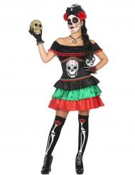 Déguisement mexicaine coloré femme Dia de los muertos
