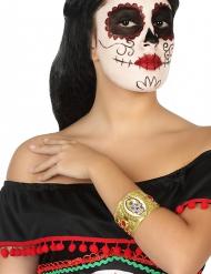 Bracelet doré squelette femme Dia de los muertos