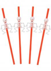 5 Pailles oranges avec squelette Halloween 29 cm