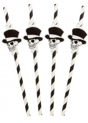 8 Pailles rayées squelette Halloween 20 cm