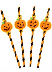 8 Pailles rayées citrouille 20 cm Halloween