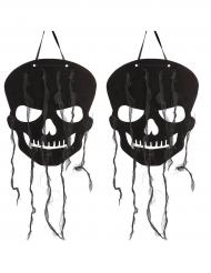 2 Décorations tête de squelette noire Halloween