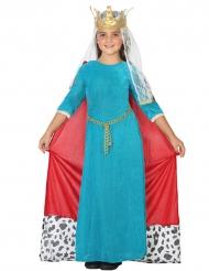 Déguisement reine médiévale bleue fille
