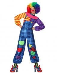 Déguisement clown patchwork bleu femme