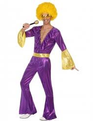 Déguisement disco holographique violet et or homme
