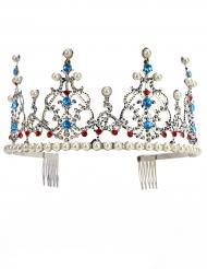 Diadème de princesse métallique argenté avec perles adulte luxe
