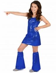Déguisement Disco bleu nuit à sequins Fille