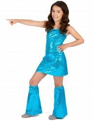 Déguisement Disco Turquoise à Sequins Fille