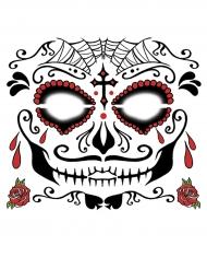 Tatouage ephémere visage Dia de los muertos  homme