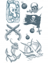 Tatouage éphémère corps pirate adulte
