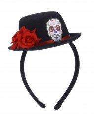 Serre tête mini chapeau noir fleur rouge Dia de los muertos adulte