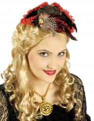 Mini chapeau pirate rouge et noir luxe femme