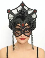 Masque dentelle noir luxe femme Dia de los muertos