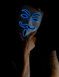 Masque anonyme lumineux bleu adulte