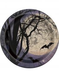 8 Petites assiettes en carton Clair de lune Halloween 18 cm