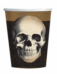 10 Gobelets en carton tête de mort Halloween 266 ml