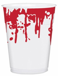 25 Gobelets en plastique taches de sang Halloween 200 ml
