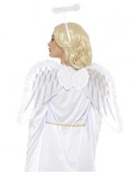 Kit ange blanc avec ailes et auréole adulte