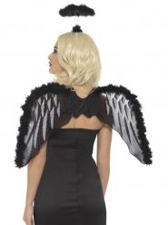 Kit ange noir avec ailes et auréole adulte