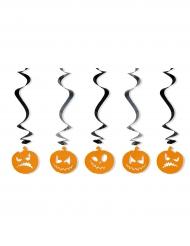 5 Décorations à suspendre spirales Citrouilles Halloween 60 cm