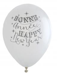 8 Ballons blancs Bonne Année 23 cm